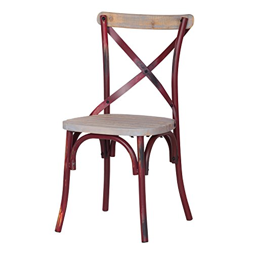 Joveco Distressed Metal Chair with Cross Back Designed