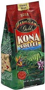 Hawaiian Gold Kona Coffee Whole Bean 1 Lb. (Pack of 2)