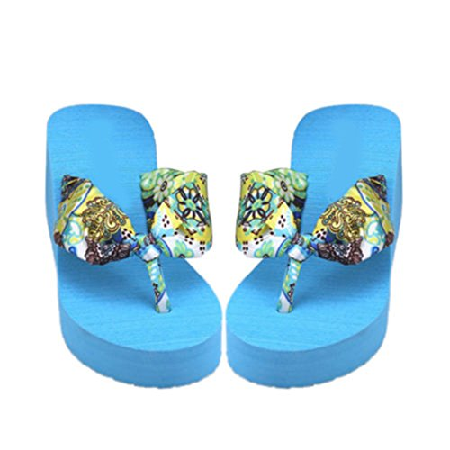 Academyus Womens Summer Wedge Shoes Bohemia Slope Flip Flops Slippers Blue TjXWdAObgQ