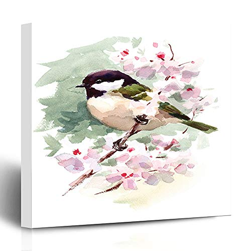 Ahawoso Canvas Print Wall Art 12x12 Inch Watercolor Bird Tit Chickadee On Cherry Blossoms Branch Hand Summer Spring Design Modern Artwork Printing Home Decor Wrapp Gallery Painting
