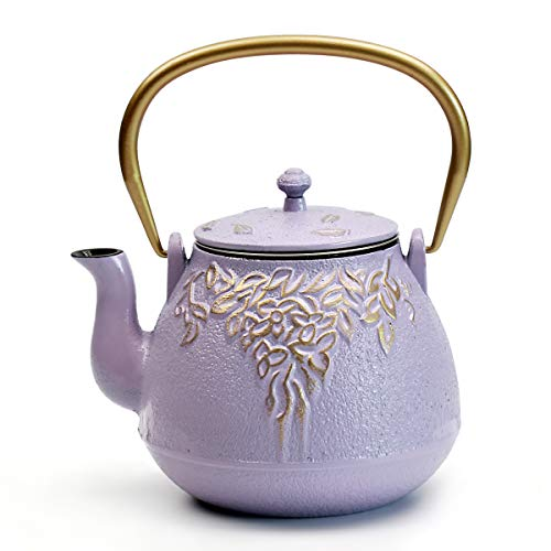 Teapot, TOPTIER Japanese Cast Iron Tea Kettle with Stainless Steel Infuser | Cast Iron Teapot Stovetop Safe [Leaf Design Teapot] Coated with Enameled Interior for 32 Ounce / 950 ml, Lilac Purple