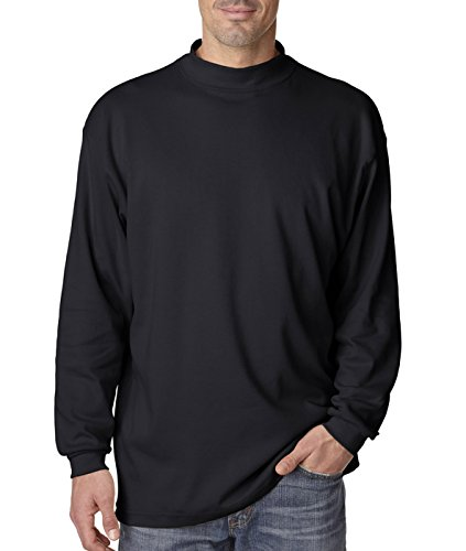 UltraClub mens Egyptian Interlock Long-Sleeve Mock Turtleneck(8510)-BLACK-M