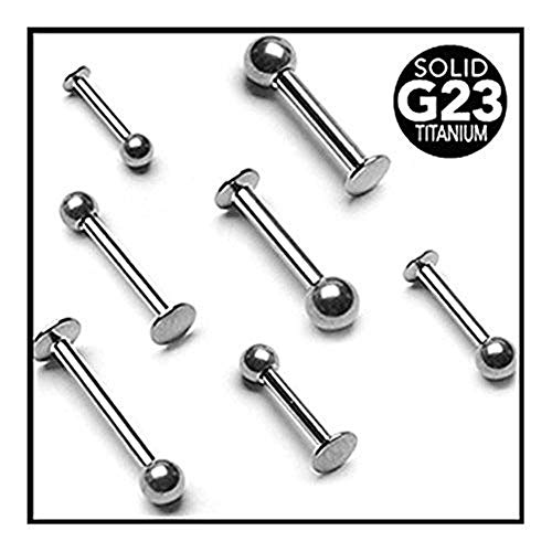 (Covet Jewelry Grade 23 Solid Titanium Labrets/Monroe (16GA, Length: 6mm, Ball Size: 3mm))