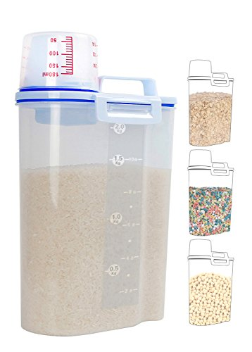 Rice Storage Bin Cereal Container With Pour Spout and Measuring Cup,Portable Sealed Clear Plastic Food Keeper for Grain Cereal Oatmeal Jar Holder Dispenser Practical Convenient Handy, 4.4 Lbs/2KG,1Pcs