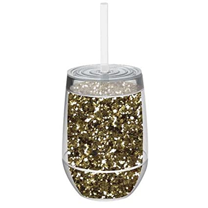 4950ee673b3 Stemless 10oz Glitter Wine Glasses By Slant Collections (Gold Glitter)