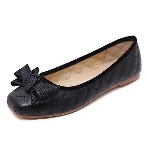 Makesgi Moda Mujer Sexy Squaretoe Nudos Ballet Pisos Zapatos Negro