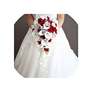 Vintage Red Rose Bouquet with Crystal Waterfall Bridal Pearl White Wedding Bouquet Artificial Flowers Bride Brooch 43