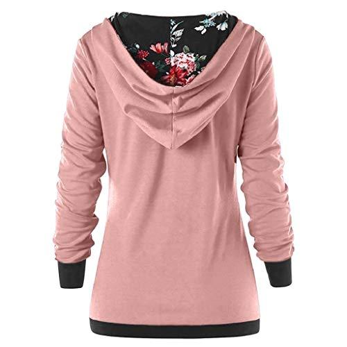 Capuche Rose Longues Femmes Trydoit Sweats Chemise Nuit Manches pour 5qtP7