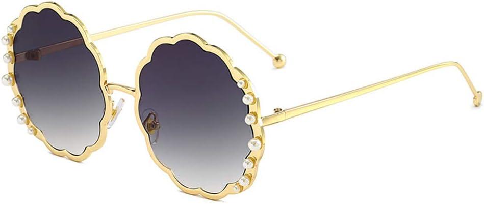 ASDF Gafas de Sol para Mujer, Gafas de protección Solar para Dama Vintage, Gafas de Sol Redondas en Forma de Flor de Verano,Goldframedoublegray