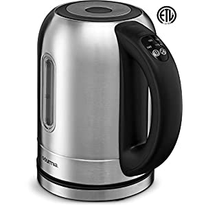 Gourmia GDK350 Electric Tea Kettle Rapid Boil 1500 Watt- 5 Preset Temperature Controls, LED Lights Change Color As Water Heats Up, Stainless Steel with Clear Window ETL Safety LISTED, 2 Quarts