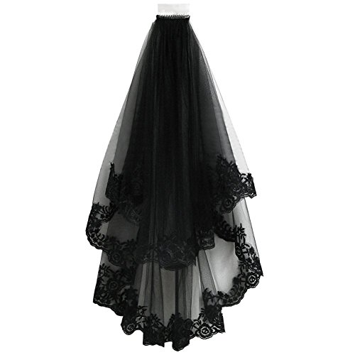 Drasawee Black Lace Veil Creative Cathedral Wedding Halloween Veil With Comb ()