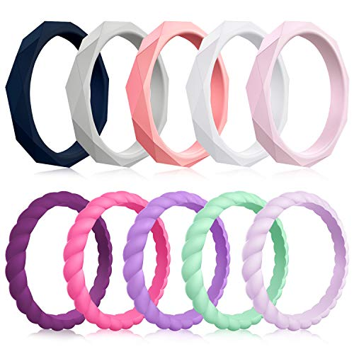 Mokani 10 Pack Silicone Wedding Ring for Women, Thin and Braided Rubber Band, Fashion, Colorful, Comfortable fit, Skin Safe,Size 9 (Fashion Rubber Bands)