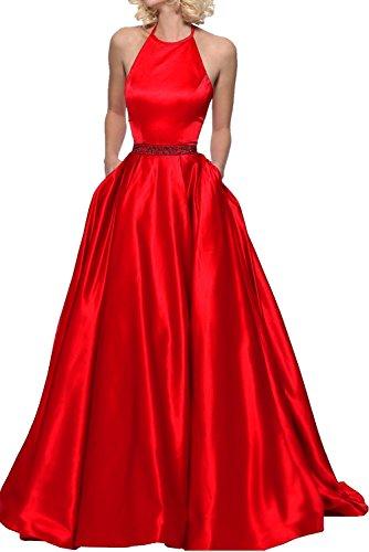 perlen Langes Kleider A mia Festkleider Pailletten Abendkleider Rot Rot Rock Ballkleid Jugendweihe Linie La mit Braut Satin qgwxZ