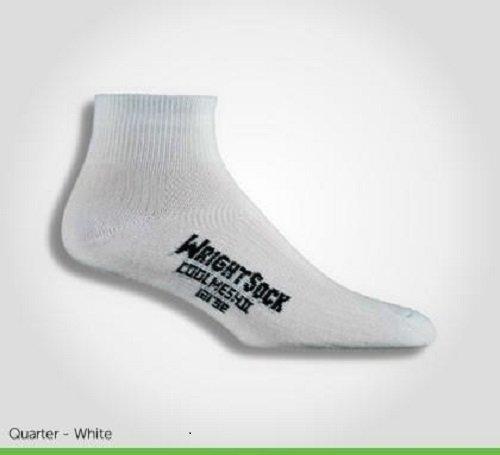 Wrightsock Women's Coolmesh Ii Qtr 3 Pack Athletic Socks, White, Medium
