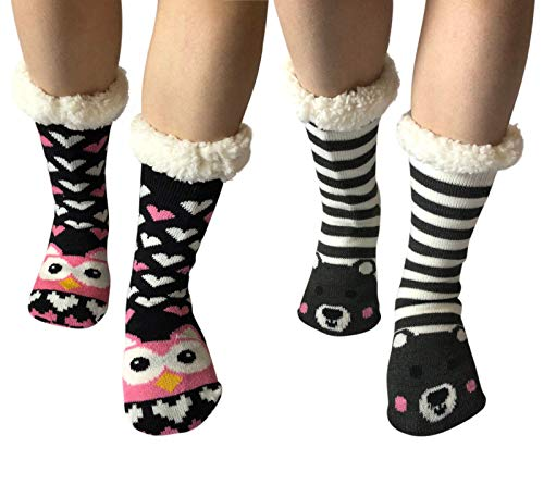 2 Pairs Women Thick Knit Sherpa Lined Thermal Non Skid/Slip Indoor Soft Slipper Socks (2 Pairs (Owel+Striped ()