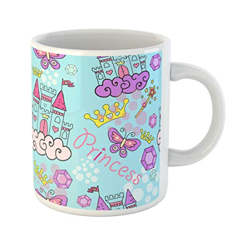 Semtomn Funny Coffee Mug Pink Princess Castle Crown Butterfly Stars Diamond Abstract 11 Oz Ceramic Coffee Mugs Tea Cup Best Gift Or Souvenir