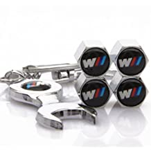 Set of 4 Tire valve stems Caps with Wrench Keychain For BMW M