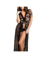 Women Sexy Lingerie Dress Underwear Lace Long Gown Sleepwear Robe G-string Sets(BK)