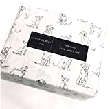 Cynthia Rowley 4-Piece Full Sketched Puppies/Dogs Sheet Set Dog Lover | 100% Easy-Care Cotton