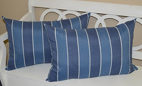 Denim Toss Pillow - Set of 2 - Indoor / Outdoor Jumbo, Large, Over–sized, Rectangle / Lumbar Chaise Lounge Decorative Throw / Toss Pillows - Denim Blue Ivory Stripe