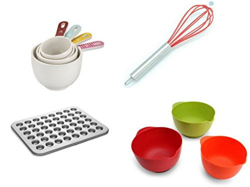 Cake Boss Countertop Accessories 4-Piece Melamine Measuring Cup Set, Basic Pattern, 3 Mixing Bowls,Stainless Steel Whisk & Mini Cake Pan Bundle