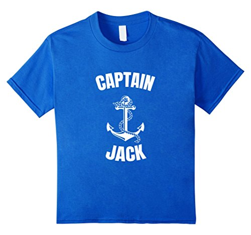 Last Minute Sailor Costume (Kids Captain Jack T-Shirt Personalized Boat Captain Shirt 10 Royal Blue)