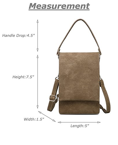 Wallet Crossbody Inches For Small Pouch Purse Khaki Shoulder Cell 6 Bella Bag Shomico Phone Women A1wqCC0