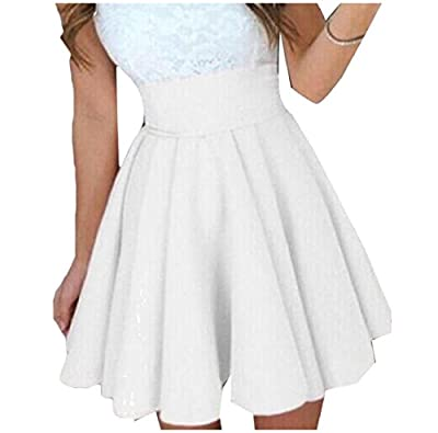 YUNY Women's Fashion Pure Color High Waisted Mini Skater Skirt
