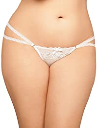 Sexy Plus Size Floral Lace Open Crotch Lace Trim Thong Underwear