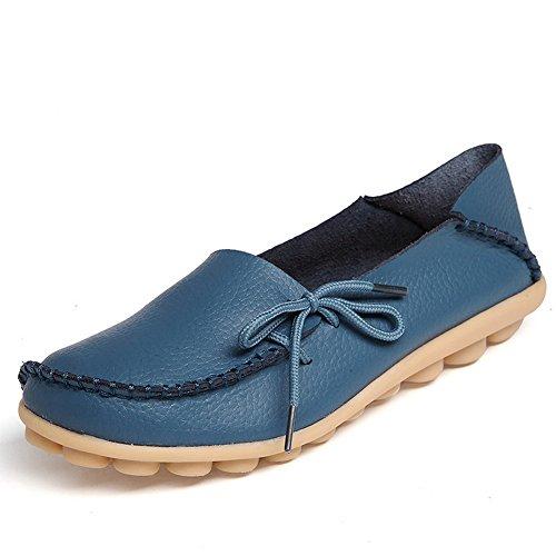 FCKEE Damen Leder Loafers Schuhe Slip-On Schuh Krankenschwester Schuhe Casual Mokassin Driving Schuhe Flache Hausschuhe Blau