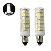6W E11 LED light bulb 75W Halogen bulbs Equivalent Mini Candelabra E11 Base T3/T4 Omni-directional LED Bulb for Ceiling Fan,Be applicable AC 110, 120v,130V,220V White Light 6000K (2 packs )