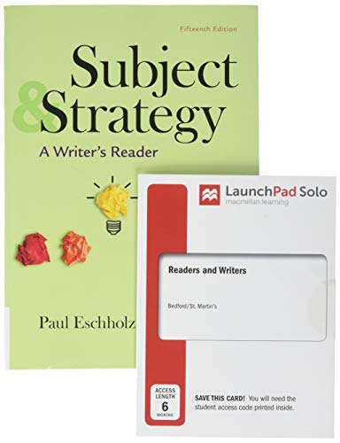 Subject and Strategy 15e & LaunchPad Solo for Readers and Writers (Six-Month Access)