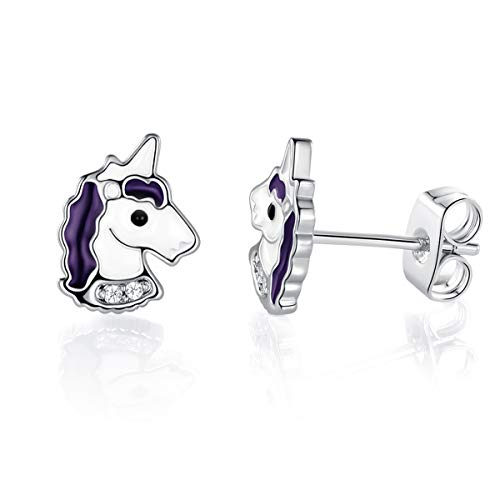 VOLUKA 18K White Gold Plated Hypoallergenic Unicorn gifts Stud Earrings for Girls (Nickel Free)
