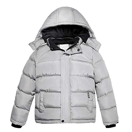 Wantdo Boy's Winter Thicken Cotton Coat Puffer Jacket Removable Hood Gray 10/12 ()
