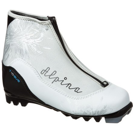 (Alpina Women's T10 Eve Cross-Country Nordic Touring Ski Boots with Zippered Lace Cover, Silver/Black, 37)