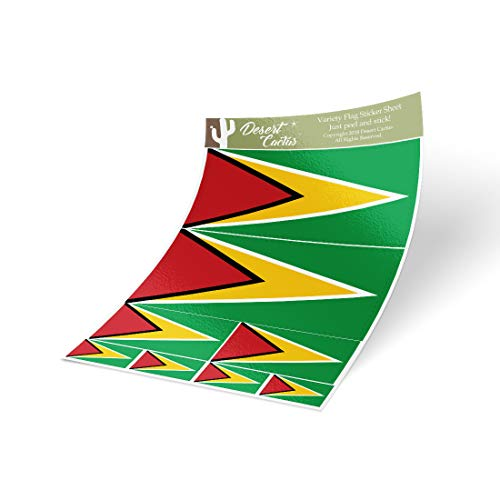 Desert Cactus Guyana Country Flag Sticker Decal Variety Size Pack 8 Total Pieces Kids Logo Scrapbook Car Vinyl Window Bumper Laptop V ()