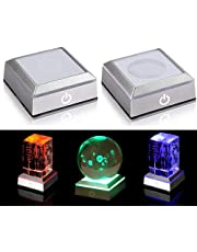 2 Pack 6 Colors LED Light Base Show Stand Display Plate with Sensitive Touch Switch for 3D Laser Crystal Glass Art
