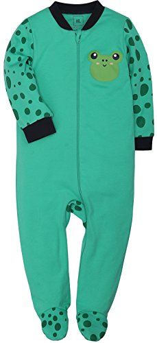 Footed Girls Sleeper Frog (Baby 2-Way Zip Front Long Sleeve Footed Sleeper Pajamas (Frog, 12-18))