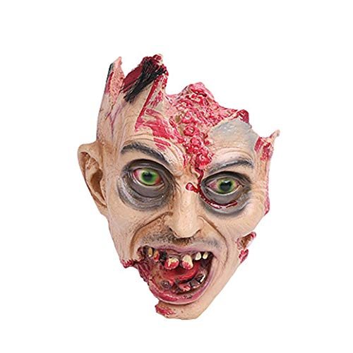 XILALU Halloween Horror Head Mask, Creepy Scary Headgear Bloody Face Props Costume for Cosplay Party Toy Gift -