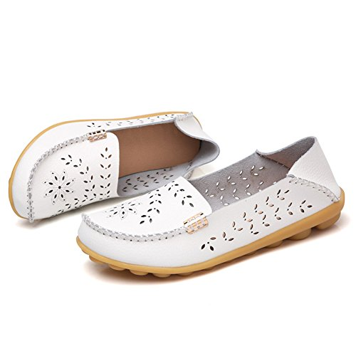 SCIEU Women's Hollow Out Leather Loafers Casual Moccasin Slip-on Driving Flat Shoes White s87KJDSfg