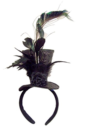 Black Sequins Steampunk Top Hat with Feathers Halloween Headband Costume Accessory