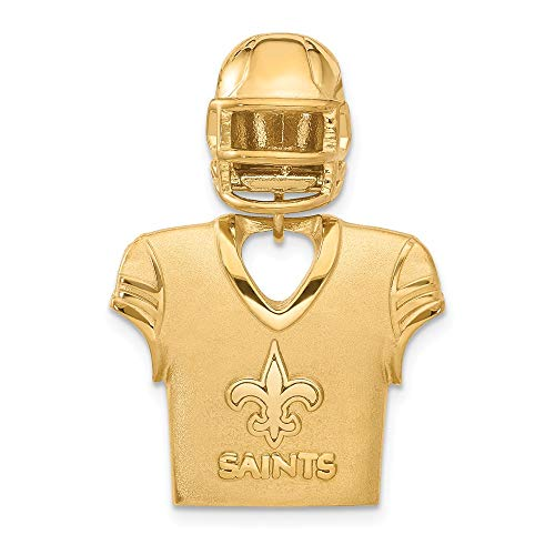 NFL Sterling Silver GP New Orleans Saints Jersey and Helmet Pendant (Religious Jerseys)