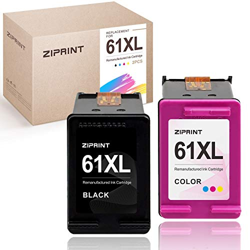 ZIPRINT Remanufactured Ink Cartridge Replacement for HP 61XL 61 XL for Envy 5530 4500 5534 5535 Deskjet 2540 1010 1000 1512 1510 3510 Officejet 4630 4635 2620, High Yield(1 Black,1 Tri-Color, 2 Pack)