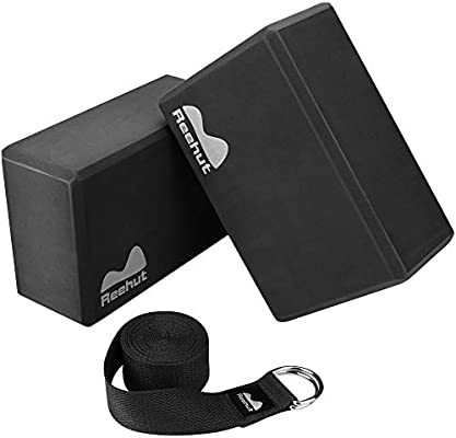 Amazon.com : REEHUT Yoga Block (2 PC) and Metal D Ring Yoga ...