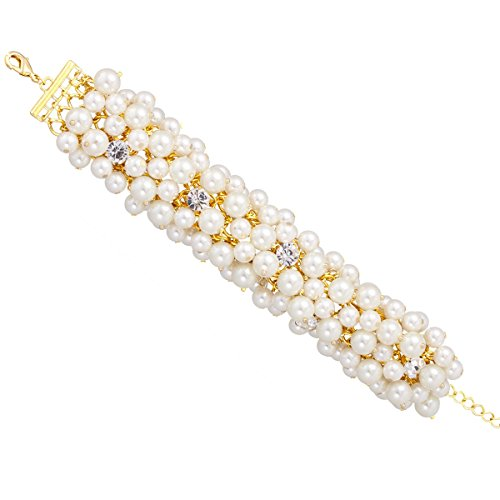 TAZZA GOLD-TONE CREAM FAUX PEARL AND CRYSTAL BRACELET #HNB88460GDCM - Inexpensive Costumes