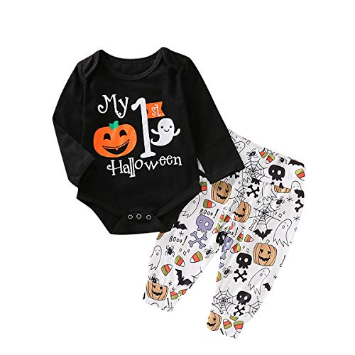 Baby Boys Long Sleeve My 1st Halloween Letter Print Romper Cotton Bodysuit Tops Long Pants Outfits Set (6-12 Months, ()