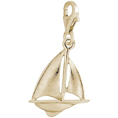 14K Yellow Gold Sailboat Charm With Lobster Claw Clasp, Charms for Bracelets and Necklaces 14k Yellow Gold Sailboat Charm