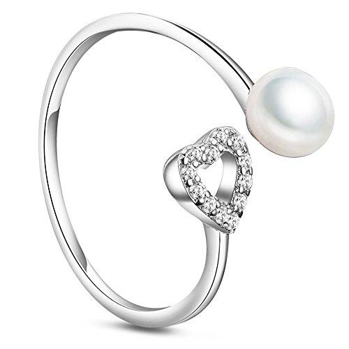 SWEETIEE Mujer Puño S925Anillo Micro Pave AAA circonita corazón y agua dulce perla platino 18mm