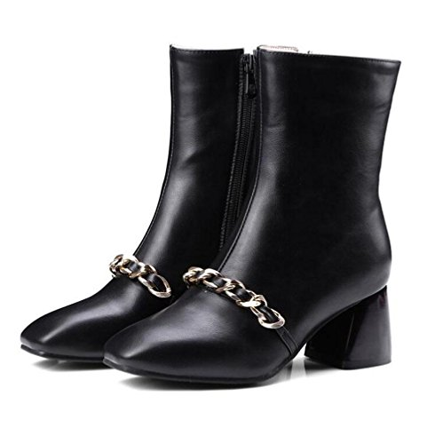 Courtes Hiver Carré Dames Bottes 46 Talon BLACK Chevalier Femmes Taille Rough BOTXV Bottes Cone Chaussures 40 Grande Talon 45 Zipper Tête Side 5XfvPSxq