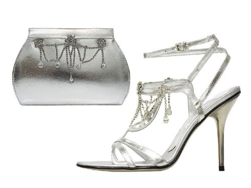 Silver Crystal Sandals and Matching Bags Set